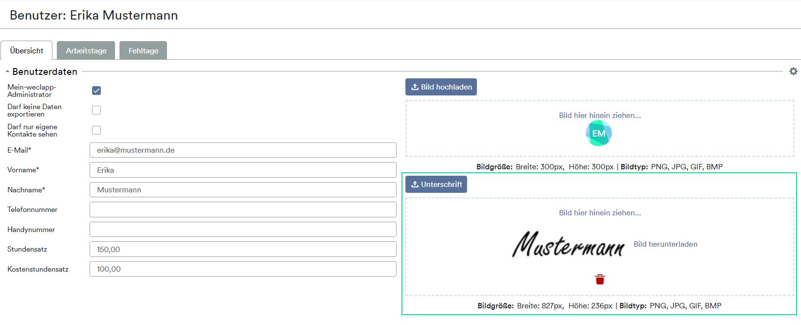 Benutzer Unterschrift