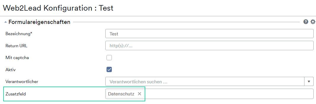 Web2Lead Zusatzfeld