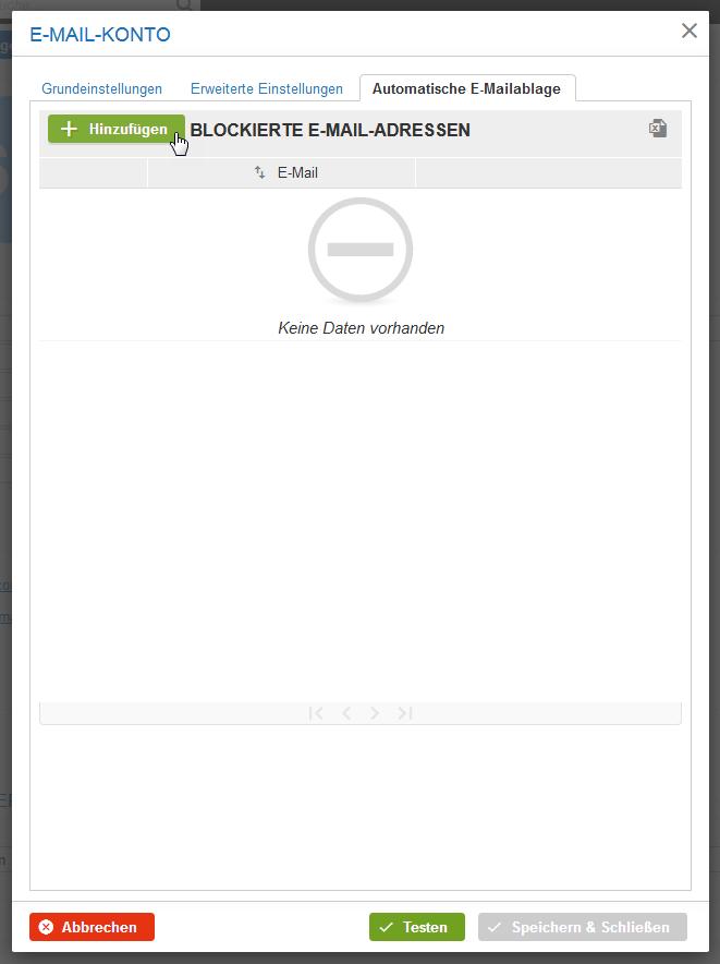 Blockierte E-Mail Adressen