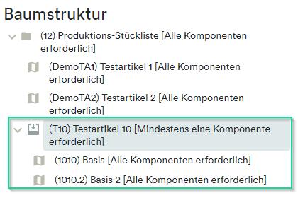 Produktions-Stückliste Baumstruktur