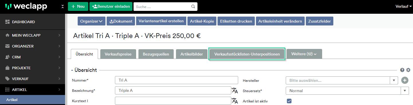 Reiter Verkaufsstückliste-Unterpositionen