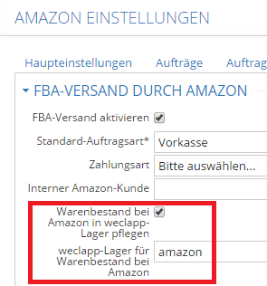 Amazon Lager weclapp
