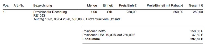 Provisionsabrechnung prozentual vom Umsatz