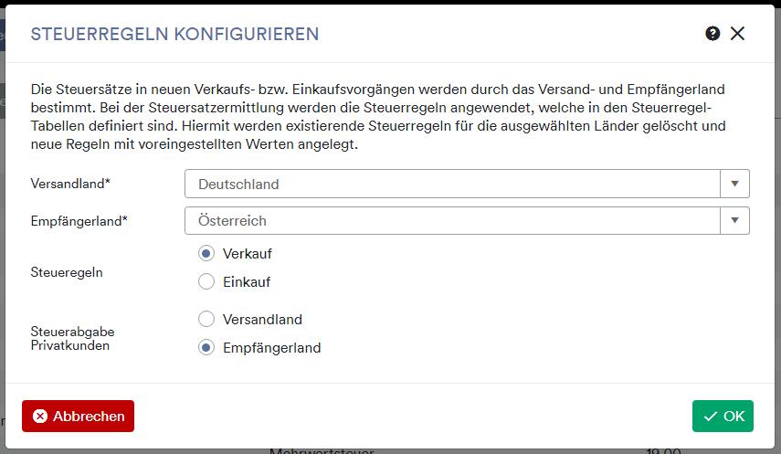 Steuerregel konfigurieren Deutschland Österreich