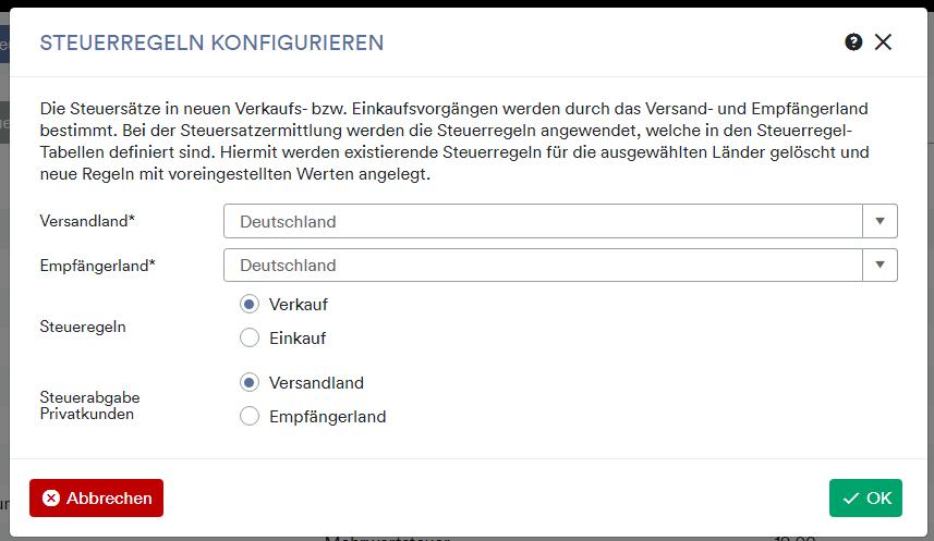 Steuerregel konfigurieren Deutschland