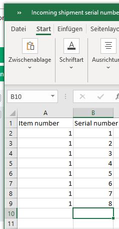 Seriennummer importieren csv