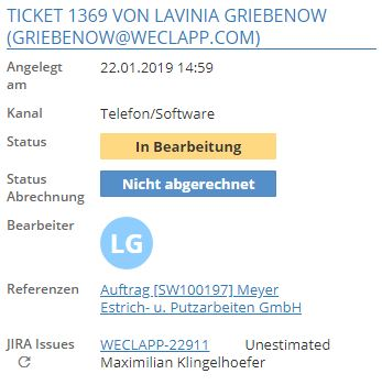 Ticket sidebar