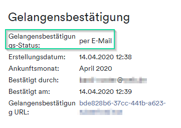 Gelangensbestätigung per Mail