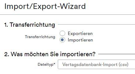 Vertrag Import