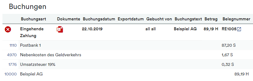 Buchung Gebühr inkl. Steuer