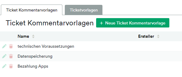 Ticket Comment Templates
