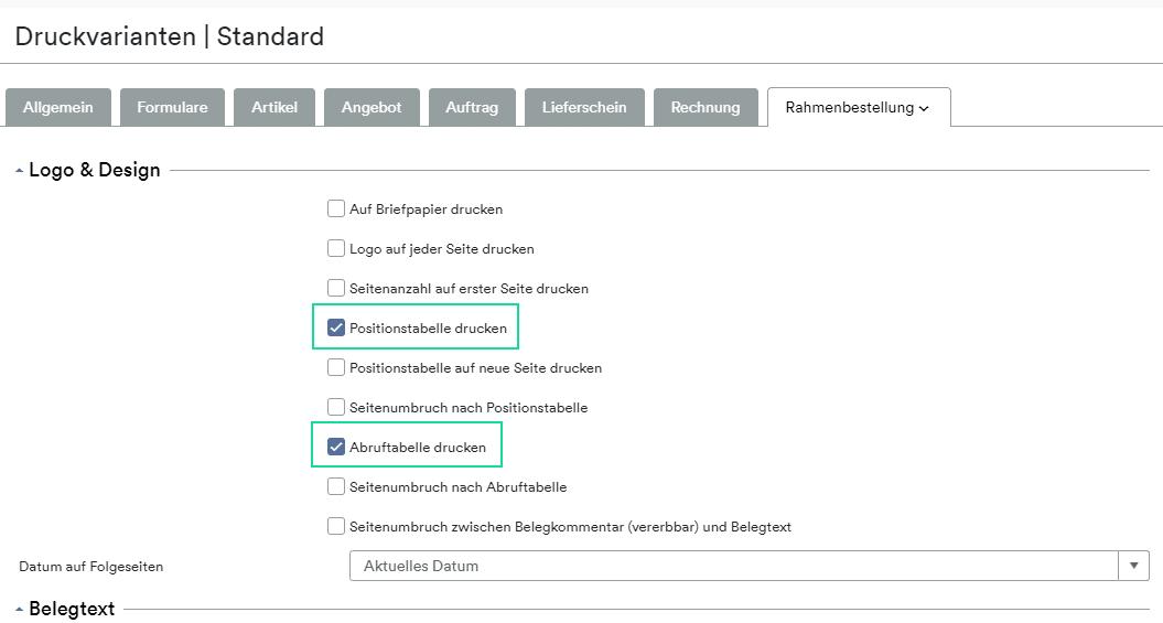 Rahmenbestellung Formular