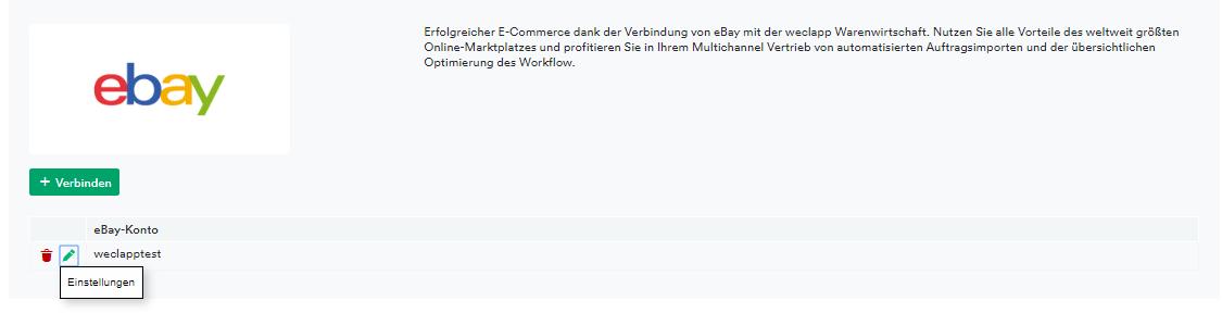 eBay Verbindung
