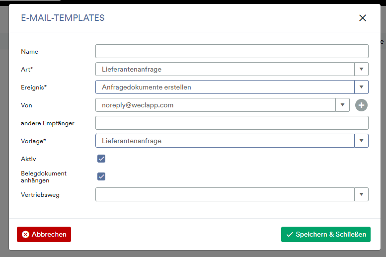 Lieferantenanfrage E-Mail Template