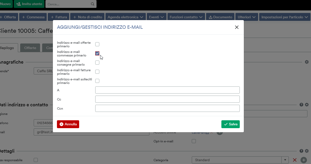 Indirizzo e-mail primario