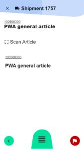 Interne Lieferung Artikelauswahl