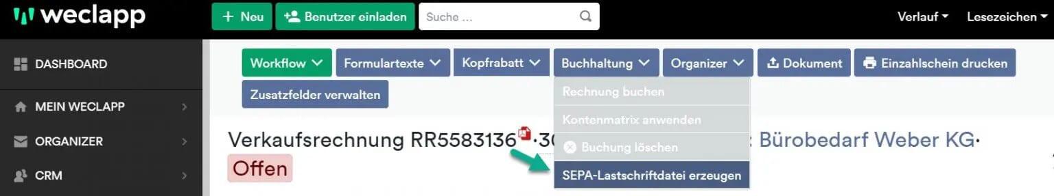 SEPA Lastschrift erzeugen