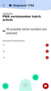 Kommissionierung Seriennummer Auswahl