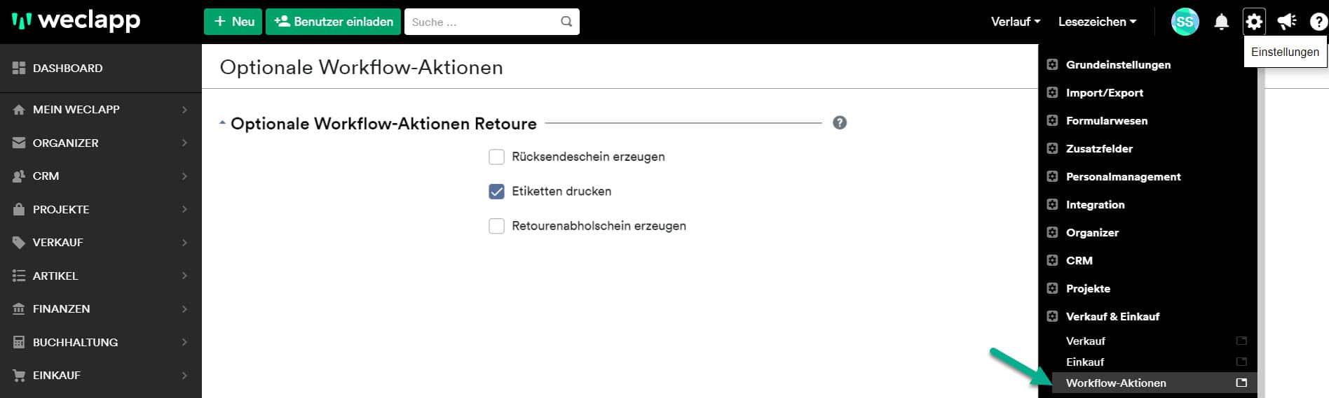 Retoure opt. Workflow