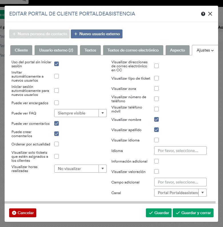 Editar portal de cliente