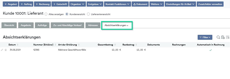 """Neuer Tab in der Kundendetailansicht """"Absichtserklärungen"""""""